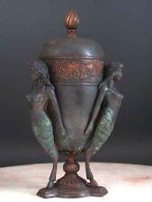 Bronze Vase / Cremation Urn / Mythology simi Nude Goat Women / Faun / Glaistig
