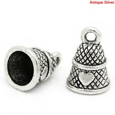 4 Antique Silver Metal HEART SEWING Thimble Charm Pendants chs1283