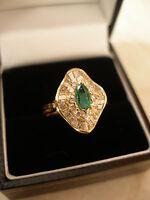 18 CARAT GOLD MARQUISE SHAPE EMERALD & DIAMOND BALLERINA CLUSTER RING BNIB