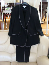 Custom Made Women's Business Jacket And Pants Suit Black w/ Swarovski Crystal