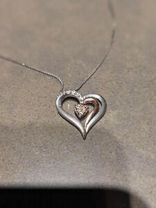 10K Rose Gold & 925 Sterling Silver .05 ctw Diamond Multi-Heart Pendant Necklace