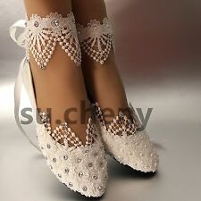 Flat 0 to 12 in leather bridal shoes ebay white light ivory lace pearls crstal flat ballet wedding shoes bridal size 5 12 junglespirit Choice Image