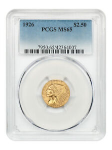 1926 $2 1/2 PCGS MS65 - Gem Type Coin - 2.50 Indian Gold Coin - Gem Type Coin