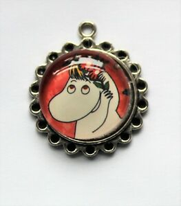 Moomin Maiden Glass Domed Moomin Pendant, approx 30mm,  for Jewellery & Craft