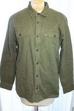 LEVI'S Shirt Jacket XXL Olive Green BUTTON FRONT SHERPA FLEECE LINED Work Coat