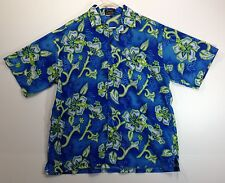 "Hawaiian Aloha Style Shirt L 52"" Cascade - Vibrant blue and green hibiscus"