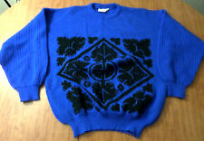 MAGNUM wool sweater XL knit Baroque Crest gothic ironwork 1980s royalty