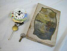 Vintage Lux Porcelain Face Dutch Scene Clock Waterbury, Conn with Box Key