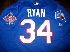 Brand New!Texas Rangers #34 Nolan Ryan Majestic Dual patch stitched Jersey Mens