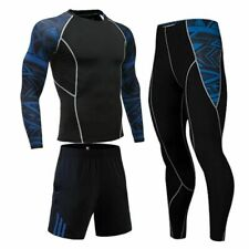 Men Compression Sportswear Suit Tights Round T-Shirt Leggings Base Layer Workout