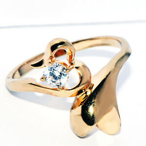Vintage 9K Gold Filled Crystal CZ Heart Promise Ring for Womens Female Size 8