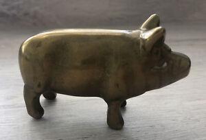 ANTIQUE VINTAGE MINIATURE BRASS PIG