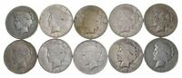 Lot $10 US Peace Silver Dollar Collection $1 1922-1925 90% 1/2 Roll Face Cull