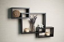 Brown Intersecting Floating Wall Shelf Home Living Room Etagere Furniture Decor