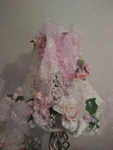 Ultra shabby pink cottage chic handmade lampshade beautiful cream lace roses