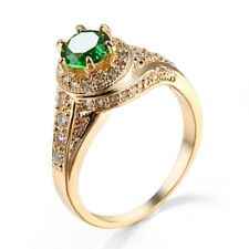 Green Emerald CZ Band 14kt Yellow Gold Filled Women's Engagement Ring Size 6-10