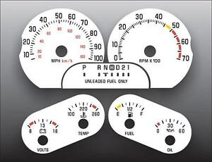 1991-1993 Buick Roadmaster 5.7L V8 Dash Instrument Cluster White Face Gauges