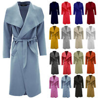 Women Ladies Trench Italian Long Duster Coat French Belted Waterfall Jacket UK