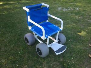 "Beach Wheelchair, 12"" Balloon Tires for Soft Sand - Used"
