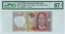 Cape Verde 200 Escudos 2014 PMG 67 EPQ s/n AA003070 Polymer