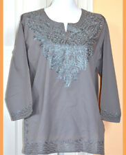 Gray Embroidered Gray Color Cotton Tunic Top Kurti Blouse from India XL