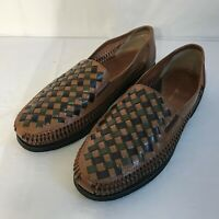 Deer Stags Mens Leather Huarache Loafers Size 13D Woven Shoes Brown