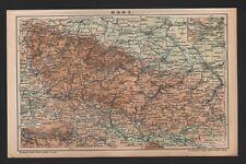 Landkarte map 1895: HARZ. Thüringen Germany Unter Harz