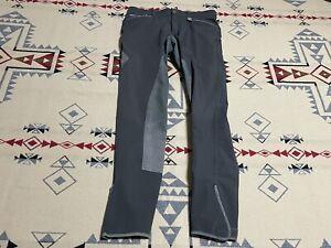 HKM Riding Breeches Size 28-30 US Horse Denim Equestrian Pants Gray C9