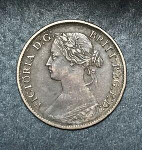 1863 British Queen Victoria Farthing, Better Circ. Grade, Scarce