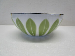 "Vtg Catherine holm Lotus Enamel Bowl 5.5"" Green White Danish Mid Century Modern"