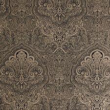 Exclusive Henna Velvet Flock Black/Gold Damask Wallpaper (J901)