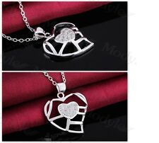 Women's Silver Filled Gorgeous Heart Pendant Necklace Jewellery Gift UK