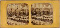 Francia Parigi Sala A Pranzo Hotel Foto Stereo Vintage Diorama Albumina c1860