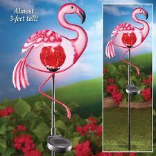 Solar Powered Lighted Pink Flamingo Outdoor Garden Yard Sculpture Stake