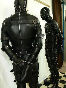 Men Real Leather Bdsm bondage suit heavy duty with hood D's Slave Restrict Suit
