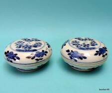 RARE CHINESE BLUE WHITE UNDERGLAZED KANGXI EXPORT PORCELAIN SEAL BOXES