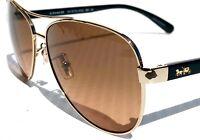 NEW* COACH HC7077 Light Gold w Black 58mm Aviator Brown Lens Sunglass L1015