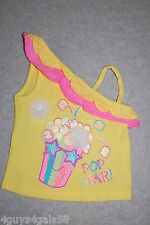 Toddler Girls OFF SHOULDER TANK TOP Popcorn YELLOW HOT PINK GLITTER Pop Star 3T
