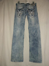 AFFLICTION 31 NWT Black Premium Blake Acid Bleach Denim Straight Jeans 31X33