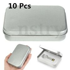 Metal Tin Silver Money Coin Candy Key Storage Box Case Holder Organizer 10Pcs