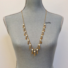 J. Crew Factory Pearl And Chain Tassel Necklace NWT AUTHENTIC With Pouch