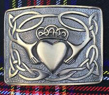 Men's Irish Claddagh Kilt Belt Buckle Antique Finish/Celtic Kilt Belt Buckles