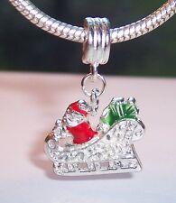 Christmas Santa Sleigh Red Enamel Holiday Dangle Bead for Euro Charm Bracelets