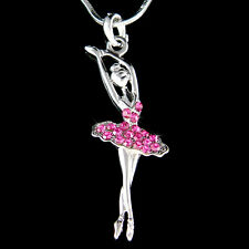 w Swarovski Crystal ~Hot Pink BALLERINA Ballet Dancer Charm Necklace Jewelry New