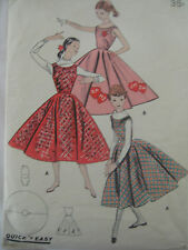 Vintage 50's Butterick 7921 FLARED JUMPER DRESS CIRCLE SKIRT Sewing Pattern Teen