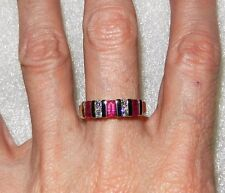 14K YELLOW GOLD VINTAGE RUBY AND DIAMOND BAND RING - SIZE 6.5  -  LB2052