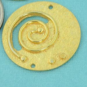 18k Gold Vermeil Fancy Swirl Textured Connector Pendant Finding 26mm
