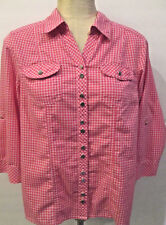 C. J BANKS WOMENS M PINK CHECKED BUTTON DOWN SHIRT/3/4 ROLL UP SLEEVES SO PRETTY