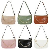 Ladies Mock Croc Shoulder Strap Bag Women's Clutch Purse Handbag Chain Grab Bag