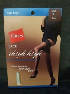 New in the Package Hanes 24/7 Lace Thigh High Stockings Small Nude Style 54222